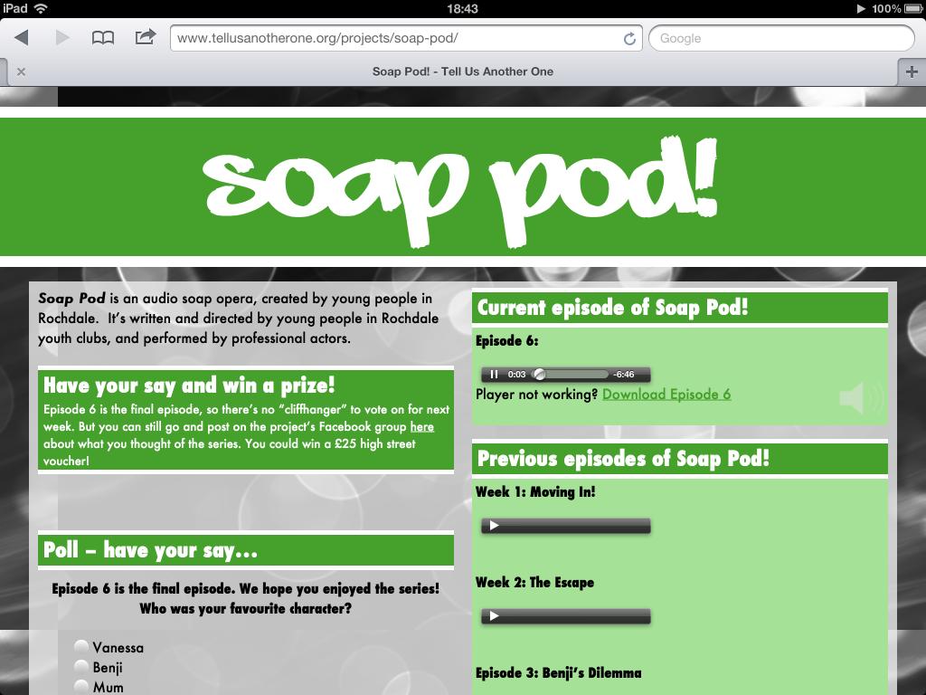 Soap Pod on an iPad