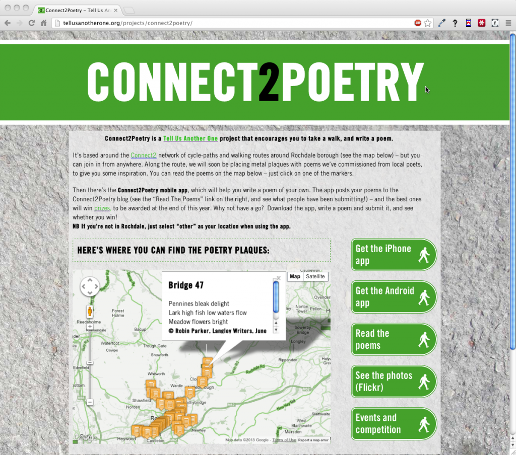 Map page from Connect2Poetry website