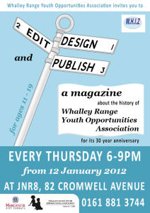 Poster promoting Whiz magazine workshops