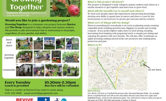 Flyer for Growing Together project, produced in a workshop