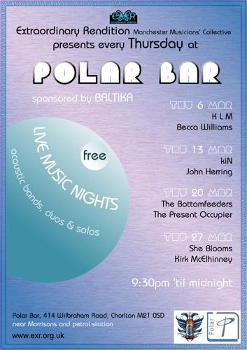 Poster for band night at Polar Bar