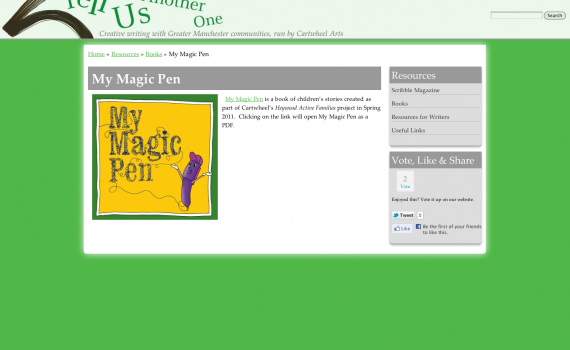 Page from Tell Us Another One website