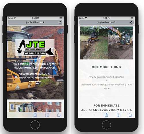 JTE Plant Hire on iPhone 8
